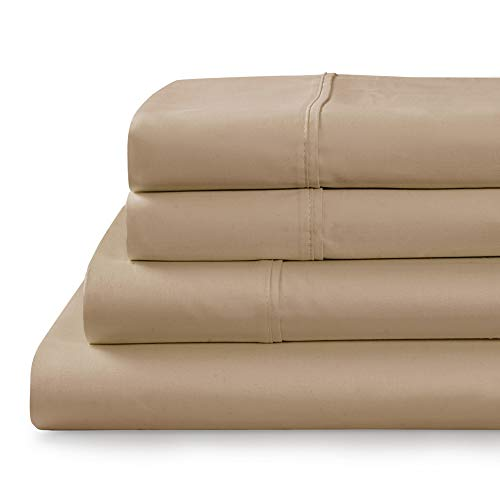 "TRANQUIL NIGHTS - 750 Thread Count 100% Supima Cotton Bed Sheet Set, 4-Piece Taupe Queen Size Sheets Set, Soft & Silky Sateen Weave Luxury Bedding, Extra Deep Pocket Sheets to Fit Upto 20"" Mattress"