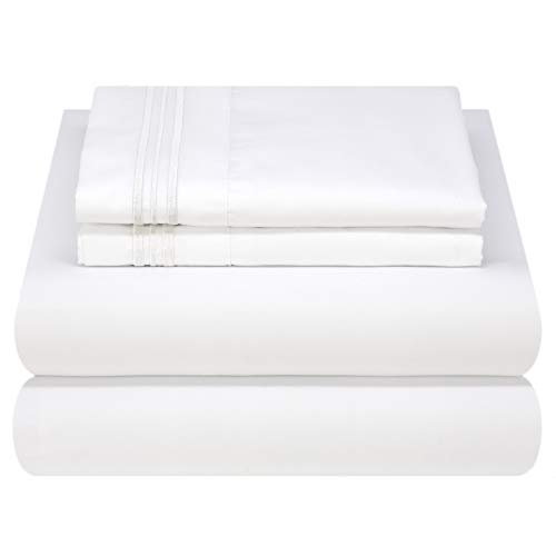 Mezzati Luxury Bed Sheet Set - Soft and Comfortable 1800 Prestige Collection - Brushed Microfiber Bedding (White, Queen Size)