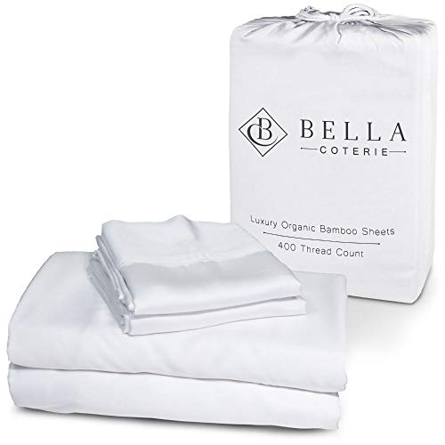 Bella Coterie Luxury Bed Sheet Set | 100% Organically Grown Bamboo Viscose | Ultra Soft and Cooling Better Than Cotton or Silk | 2 Pillowcases, Flat, and Extra Deep Fitted Sheet [Queen, White]