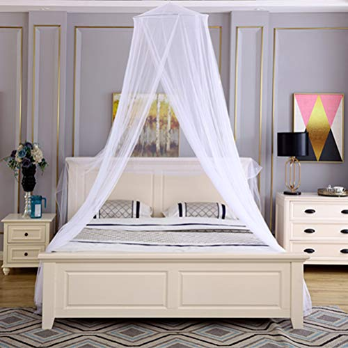 Tebery Luxury Bed Canopy Mosquito Net with Carry Bag Screen Netting Bed Canopy Circular Curtain for All Beds Quick Easy Installation, 2 Entries