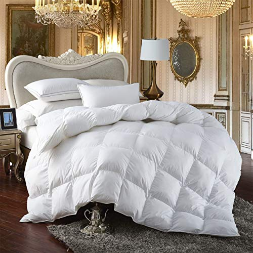 Premium All-Season Twin Size Luxury Siberian Goose Down Comforter Duvet Insert Hypoallergenic 1200 Thread Count 100% Egyptian Cotton (Twin, White Solid)