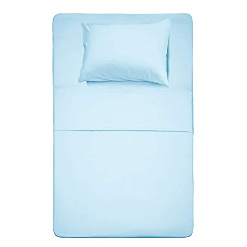 Best Season Bed Sheet Set - 1 Flat Sheet,1 Fitted Sheet and 1 Pillow Cases, Extra Soft Luxury Bedding Set,Deep Pockets,Wrinkle,Fade Resistant - Hypoallergenic- 3 Piece (Twin,Baby Blue)