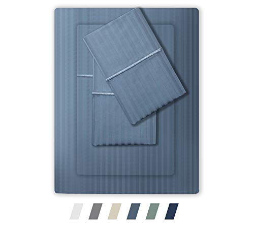 Feather & Stitch 500 Thread Count 100% Cotton Stripe Sheets + 2 Pillowcases, Soft Sateen Weave, Deep Pocket, Hotel Collection, Luxury Bedding Set (Blue, King)