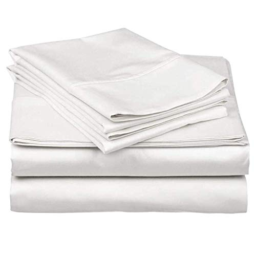 King Size Sheet Set - White 4 Piece Set - Hotel Luxury Bed Sheets - Deep Pockets - Easy Fit - Breathable & Cooling - 600TC Sheet King Sheets - 4 PC Comfy Cotton Bed Sheet