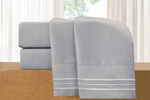 Luxury 4-Piece Bed Sheet Set - Luxury Bedding 1500 Thread Count Egyptian Quality - Wrinkle and Fade Resistant Hypoallergenic Cool & Breathable, Easy Elastic Fitted, 822RRW-Queen-Silver