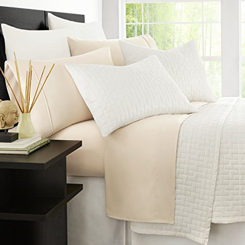 Zen Bamboo 1800 Series Luxury Bed Sheets - Eco-Friendly, Hypoallergenic and Wrinkle Resistant Rayon Derived from Bamboo - 4-Piece - Queen - Cream